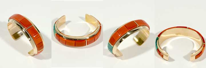 Victor Beck gold and coral inlay bracelet