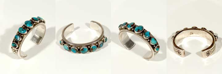 Mark Chee silver and Bisbee turquoise bracelet