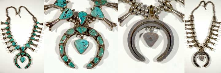 Mark Chee silver and turquoise squash blossom necklace