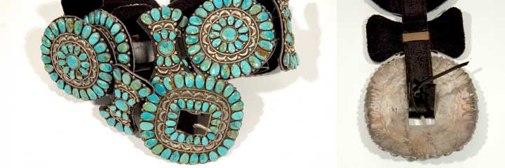Silver and turquoise concho belt