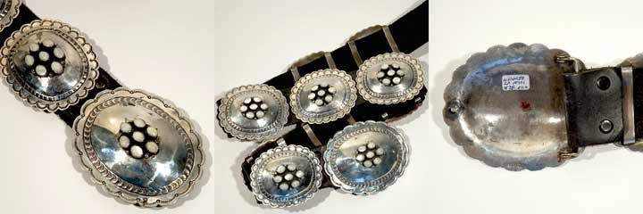 Silver and coral concho belt