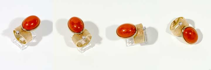 Larry Golsh gold coral ring