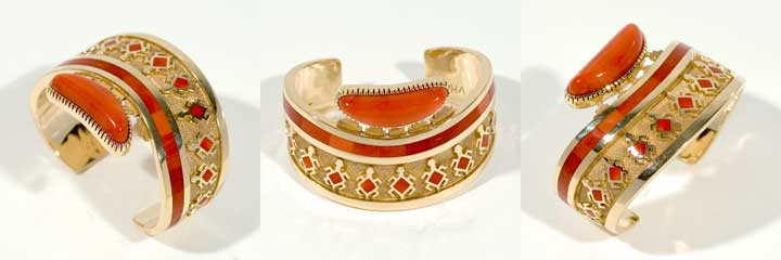 Vernon Haskie gold and coral bracelet