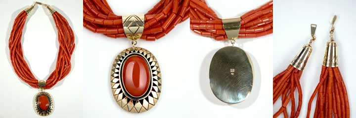 Harvey Begay coral heishi necklace and pendant