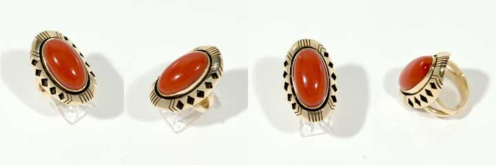 Harvey Begay coral and gold ring