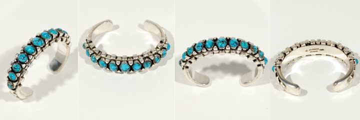 Julian Lovato turquoise and silver bracelet