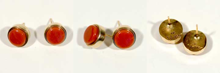 Charles Loloma gold and coral earrings