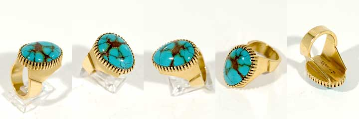 Charles Loloma turquoise and gold ring