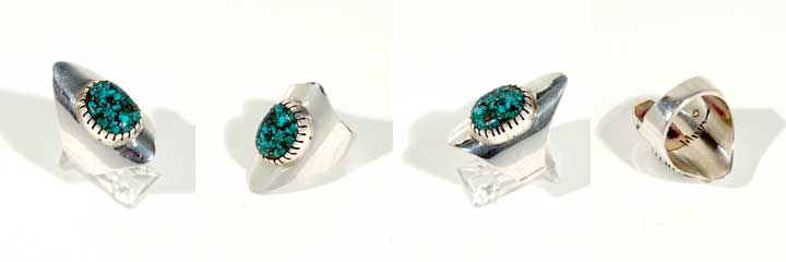 Charles Loloma silver and turquoise ring