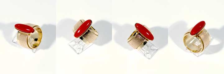 Richard Chavez red coral gold ring