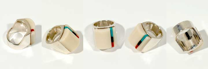 Richard Chavez white coral inlay silver ring