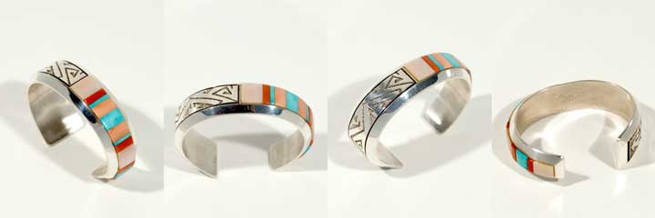 Richard Tsosie inlay silver bracelet