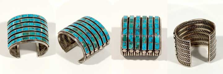 Zuni channel inlay turquoise bracelet
