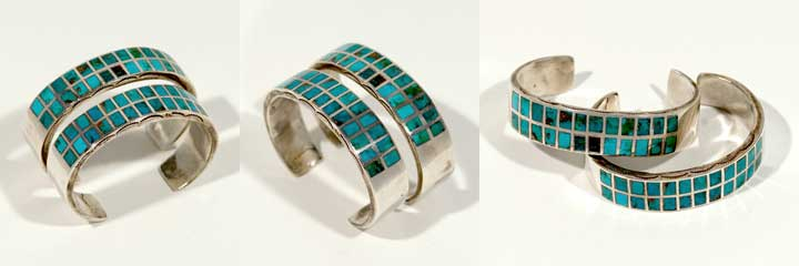Pair of Zuni channel inlay bracelets
